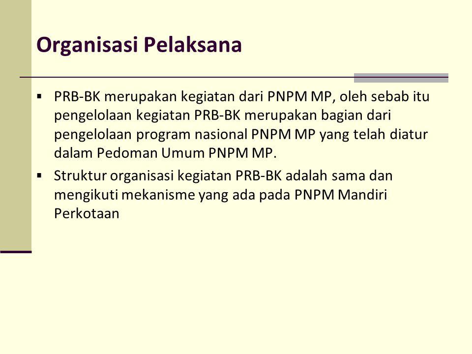 Organisasi Pelaksana  PRB-BK merupakan kegiatan dari PNPM MP, oleh sebab itu pengelolaan kegiatan PRB-BK merupakan bagian dari pengelolaan program na