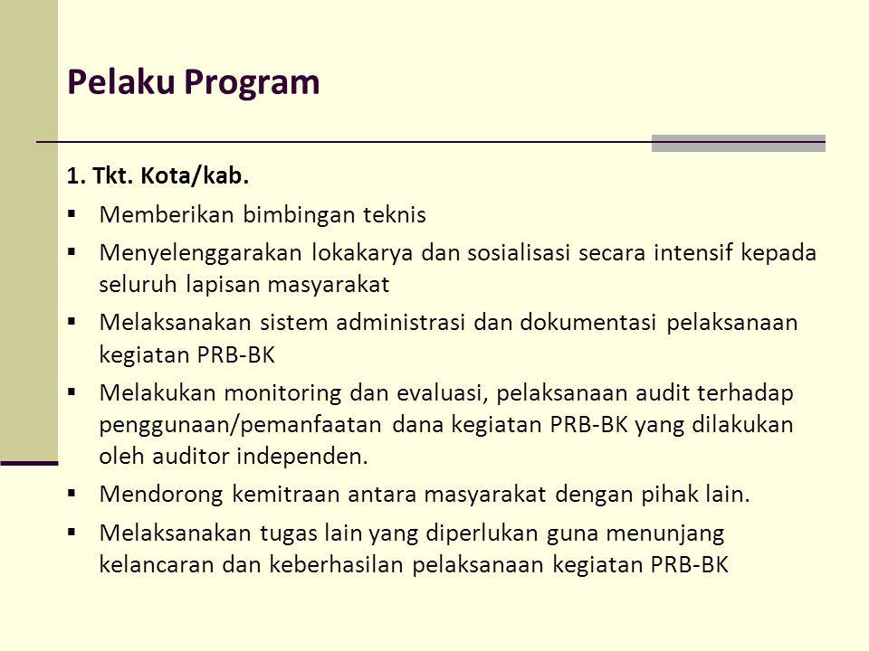 Pelaku Program 1. Tkt. Kota/kab.  Memberikan bimbingan teknis  Menyelenggarakan lokakarya dan sosialisasi secara intensif kepada seluruh lapisan mas
