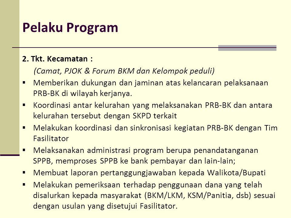 Pelaku Program 2. Tkt. Kecamatan : (Camat, PJOK & Forum BKM dan Kelompok peduli)  Memberikan dukungan dan jaminan atas kelancaran pelaksanaan PRB-BK