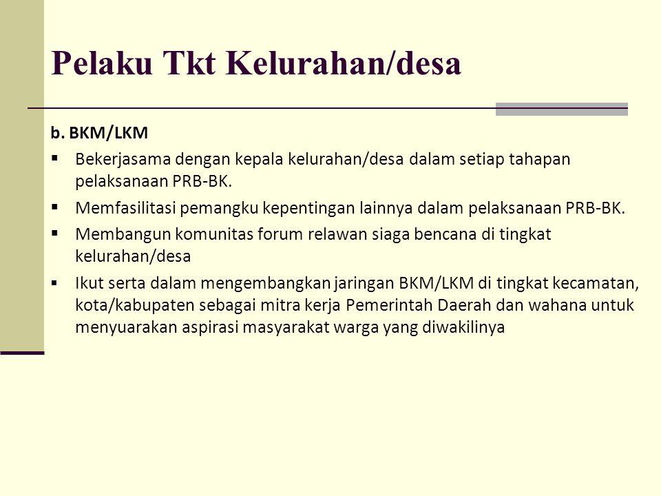 Pelaku Tkt Kelurahan/desa b. BKM/LKM  Bekerjasama dengan kepala kelurahan/desa dalam setiap tahapan pelaksanaan PRB-BK.  Memfasilitasi pemangku kepe