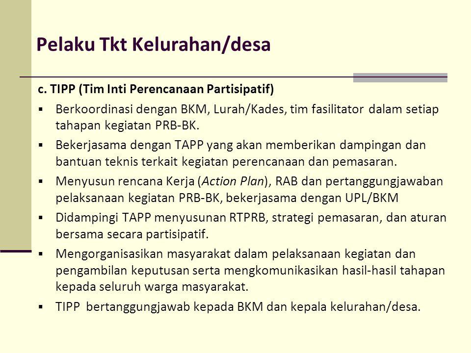 Pelaku Tkt Kelurahan/desa c. TIPP (Tim Inti Perencanaan Partisipatif)  Berkoordinasi dengan BKM, Lurah/Kades, tim fasilitator dalam setiap tahapan ke