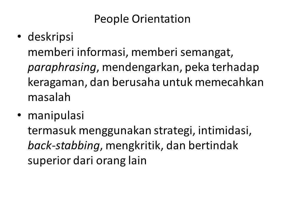 People Orientation deskripsi memberi informasi, memberi semangat, paraphrasing, mendengarkan, peka terhadap keragaman, dan berusaha untuk memecahkan m