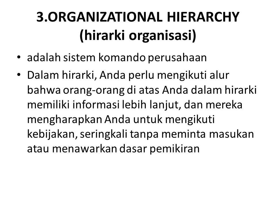 3.ORGANIZATIONAL HIERARCHY (hirarki organisasi) adalah sistem komando perusahaan Dalam hirarki, Anda perlu mengikuti alur bahwa orang-orang di atas An