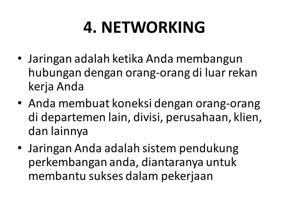 4. NETWORKING Jaringan adalah ketika Anda membangun hubungan dengan orang-orang di luar rekan kerja Anda Anda membuat koneksi dengan orang-orang di de
