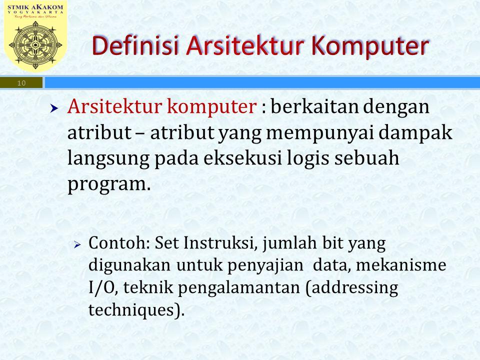  Arsitektur komputer : berkaitan dengan atribut – atribut yang mempunyai dampak langsung pada eksekusi logis sebuah program.