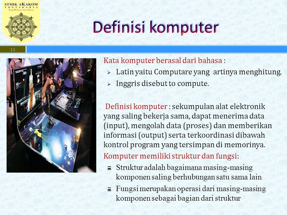  Kata komputer berasal dari bahasa :  Latin yaitu Computare yang artinya menghitung.