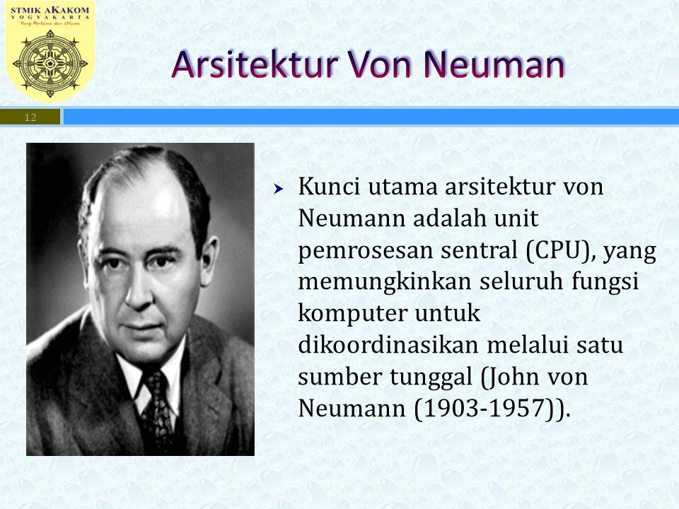  Kunci utama arsitektur von Neumann adalah unit pemrosesan sentral (CPU), yang memungkinkan seluruh fungsi komputer untuk dikoordinasikan melalui satu sumber tunggal (John von Neumann (1903-1957)).