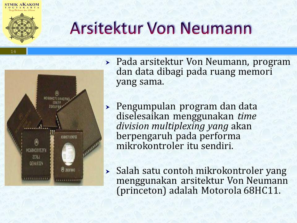  Pada arsitektur Von Neumann, program dan data dibagi pada ruang memori yang sama.