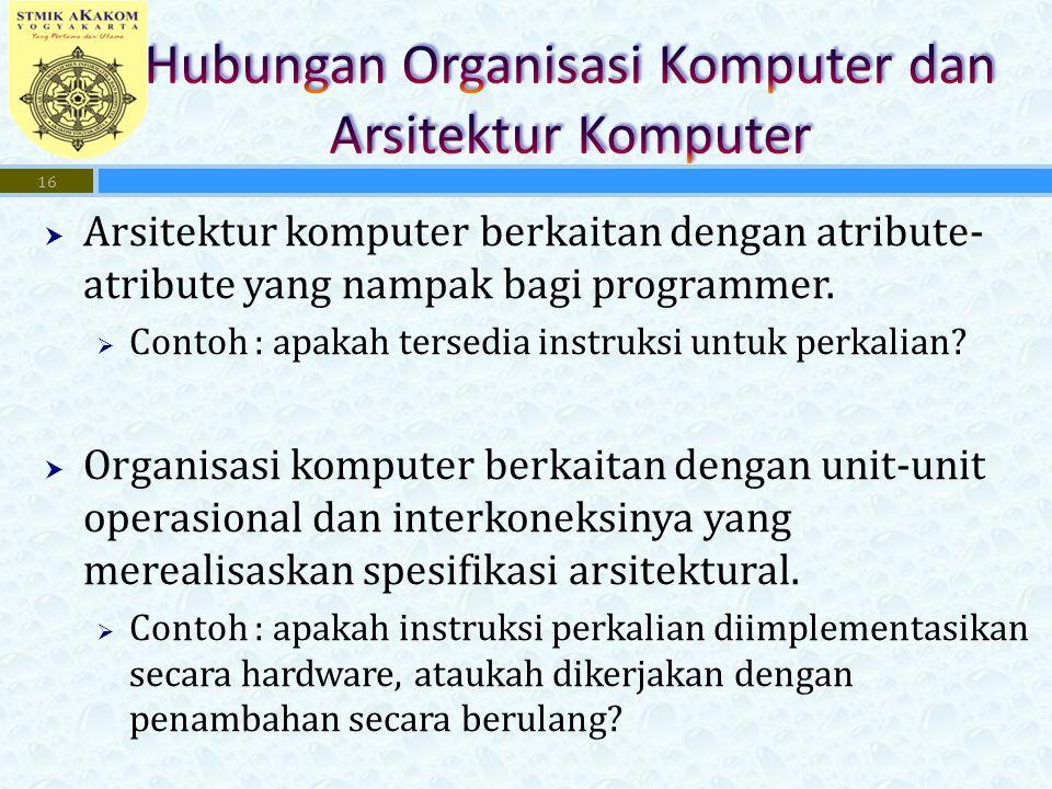  Arsitektur komputer berkaitan dengan atribute- atribute yang nampak bagi programmer.