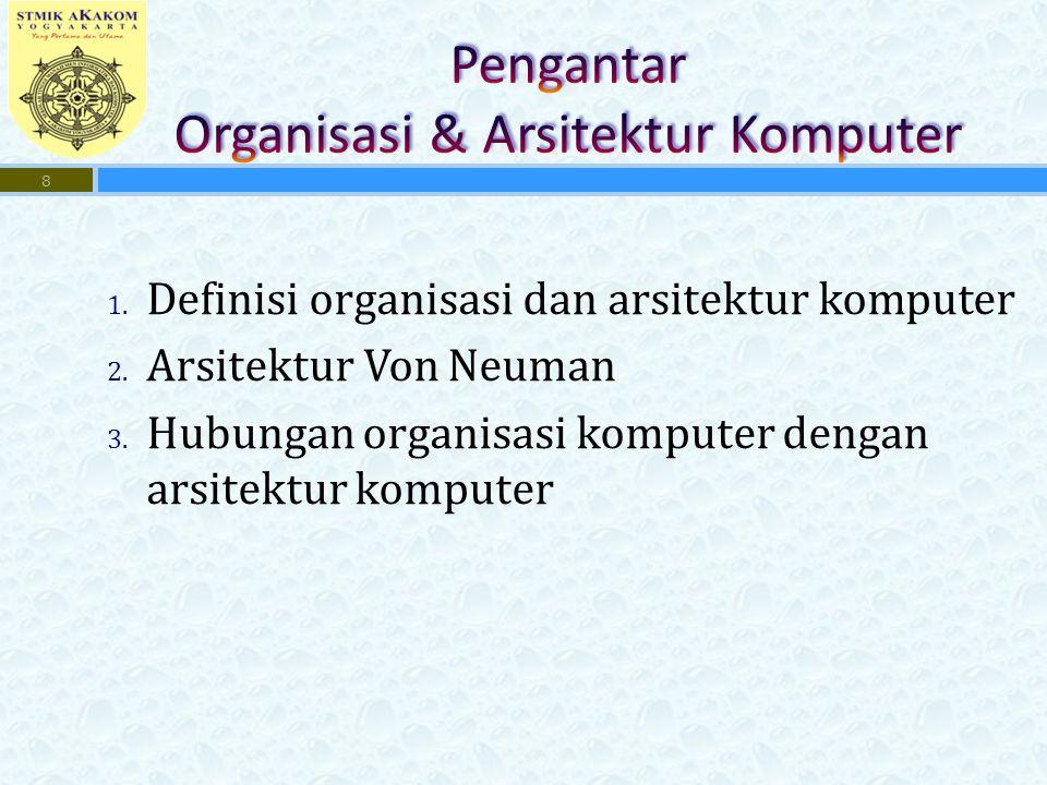 1. Definisi organisasi dan arsitektur komputer 2.