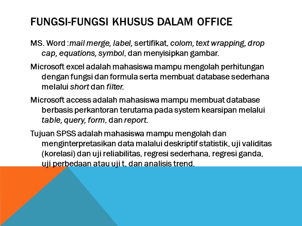FUNGSI-FUNGSI KHUSUS DALAM OFFICE MS. Word :mail merge, label, sertifikat, colom, text wrapping, drop cap, equations, symbol, dan menyisipkan gambar.
