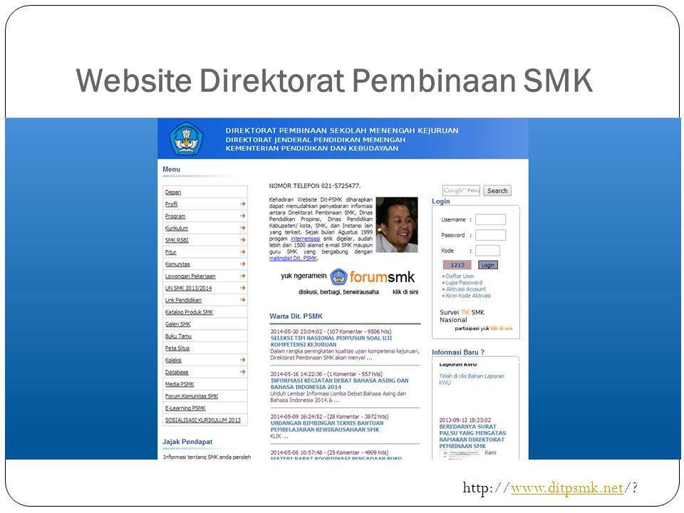 Website Direktorat Pembinaan SMK http://www.ditpsmk.net/?www.ditpsmk.net