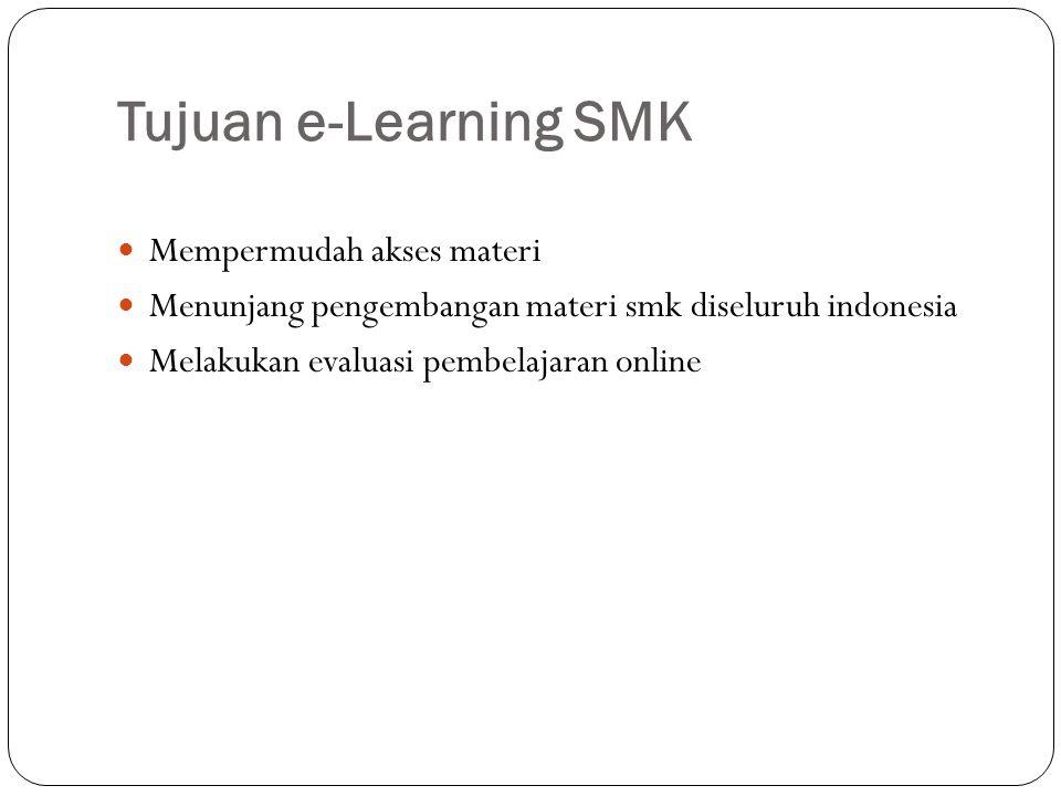 Tujuan e-Learning SMK Mempermudah akses materi Menunjang pengembangan materi smk diseluruh indonesia Melakukan evaluasi pembelajaran online