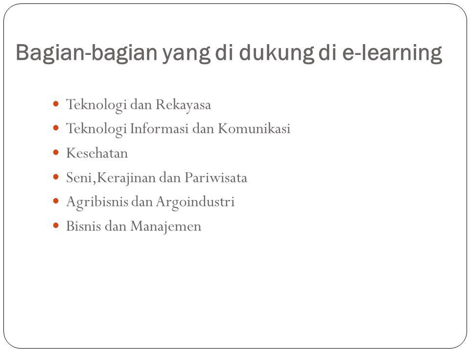 Bagian-bagian yang di dukung di e-learning Teknologi dan Rekayasa Teknologi Informasi dan Komunikasi Kesehatan Seni,Kerajinan dan Pariwisata Agribisnis dan Argoindustri Bisnis dan Manajemen