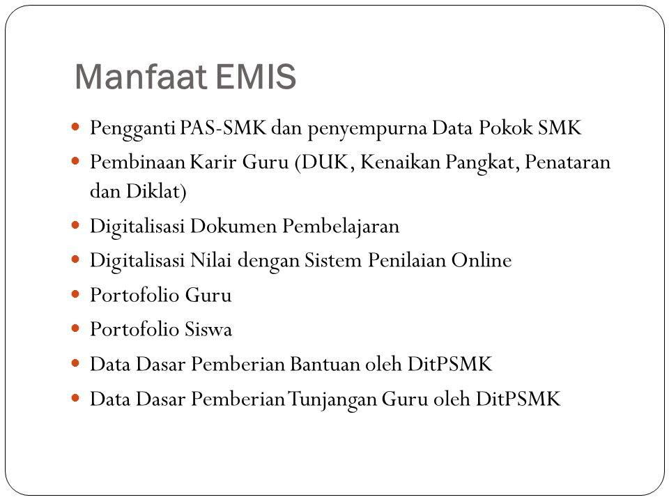 Manfaat EMIS Pengganti PAS-SMK dan penyempurna Data Pokok SMK Pembinaan Karir Guru (DUK, Kenaikan Pangkat, Penataran dan Diklat) Digitalisasi Dokumen