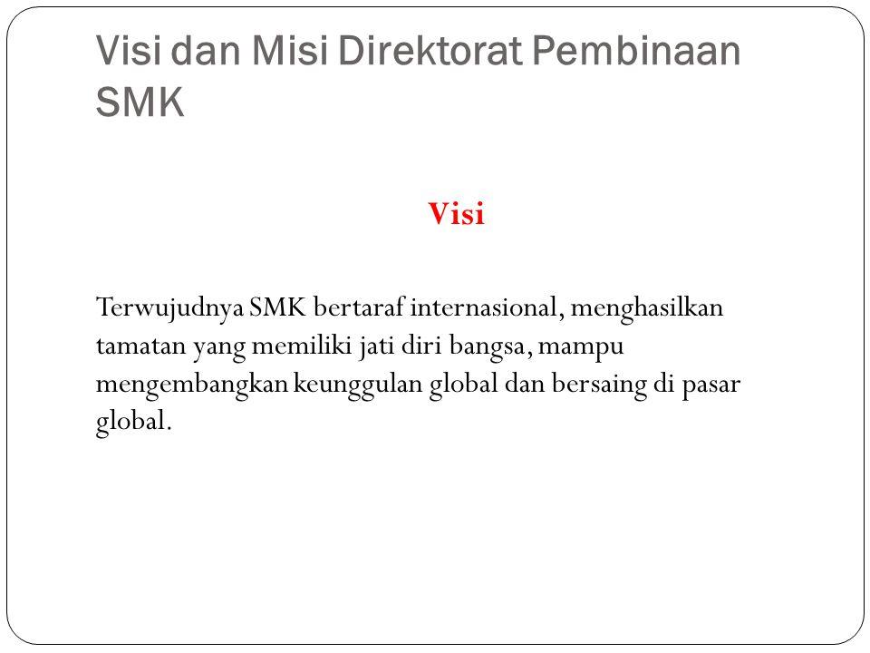 Visi dan Misi Direktorat Pembinaan SMK Visi Terwujudnya SMK bertaraf internasional, menghasilkan tamatan yang memiliki jati diri bangsa, mampu mengembangkan keunggulan global dan bersaing di pasar global.
