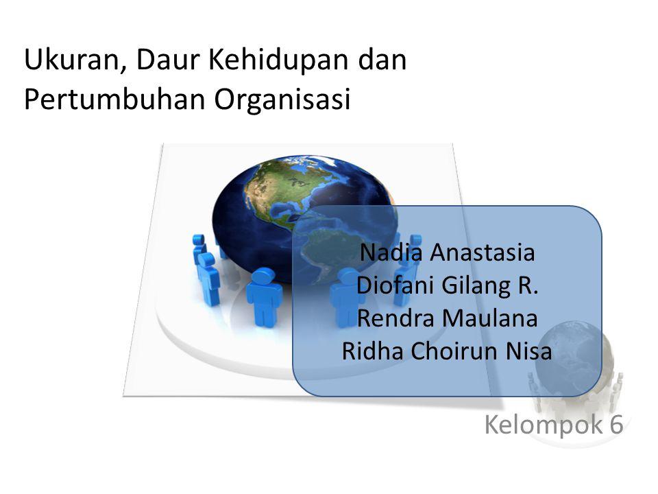 Ukuran, Daur Kehidupan dan Pertumbuhan Organisasi Kelompok 6 Nadia Anastasia Diofani Gilang R.