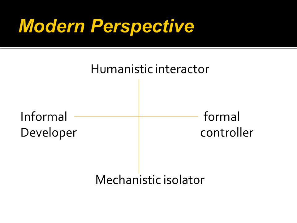 Humanistic interactor Informal formal Developer controller Mechanistic isolator