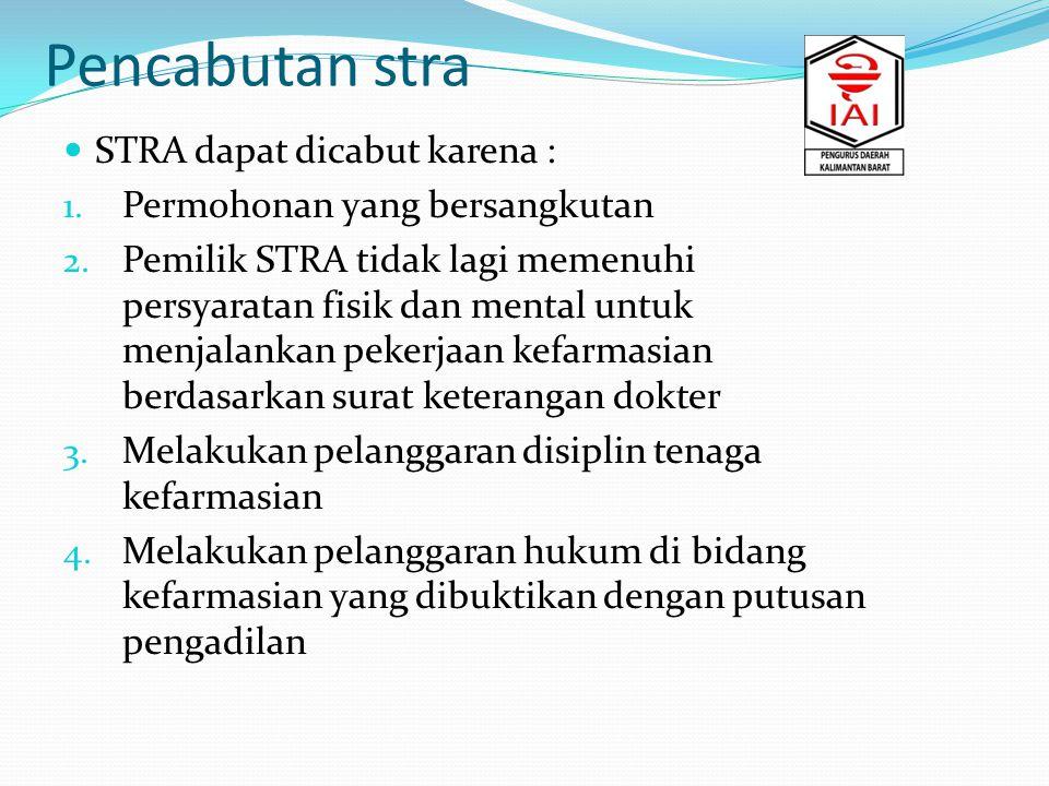 Pencabutan stra STRA dapat dicabut karena : 1.Permohonan yang bersangkutan 2.