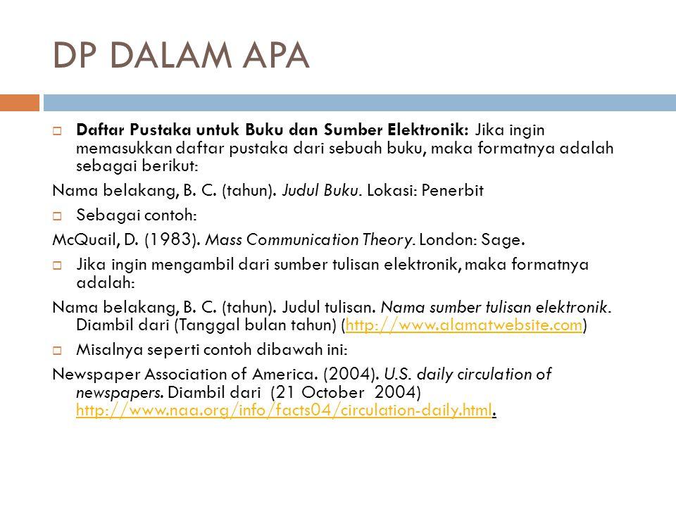 DP DALAM APA  Daftar Pustaka untuk Buku dan Sumber Elektronik: Jika ingin memasukkan daftar pustaka dari sebuah buku, maka formatnya adalah sebagai b