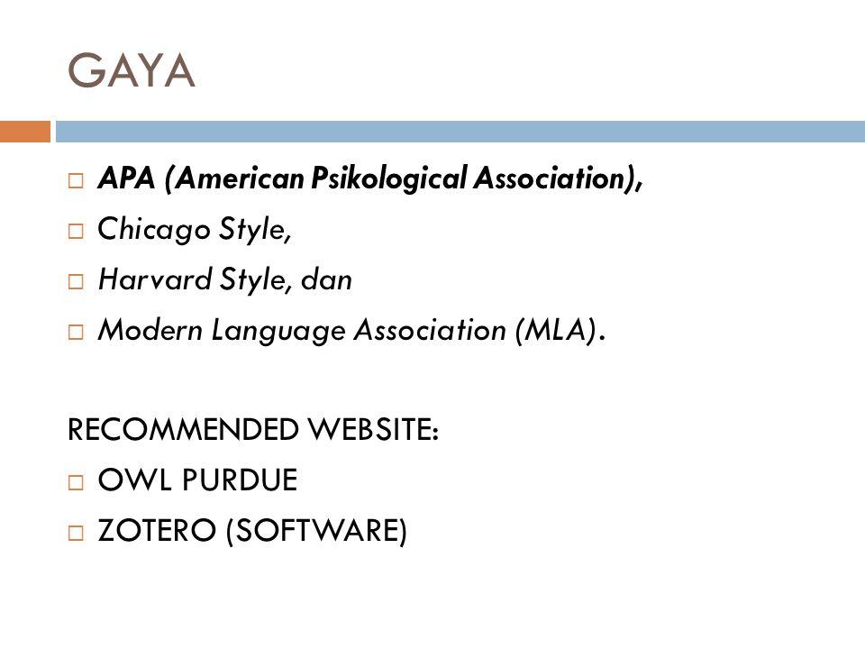 APA (American Psychological Association)  Gaya pengutipan APA adalah gaya yang paling sering digunakan untuk penelitian pada ilmu sosial, seperti psikologi, sosiologi, ilmu komunikasi, dan lain-lain  APA mengalami revisi hingga edisi terbarunya yakni edisi ke 6.
