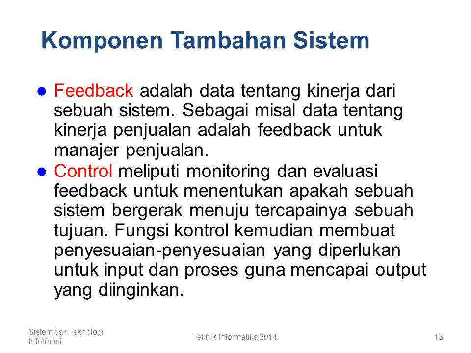 Komponen Dasar Sistem (1) Input, elemen yang diperoleh dan digunakan yang akan dimasukkan kedalam sistem ke dalam proses.