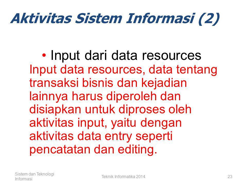 Input dari Data Resources Pengolahan Data Menjadi Informasi Output dari Produk Informasi Storage of Data Resources Control of System Performance Sistem dan Teknologi Informasi Teknik Informatika 201422 Aktivitas Sistem Informasi (1)