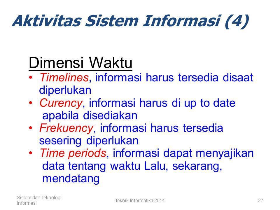 Sistem dan Teknologi Informasi Teknik Informatika 201426 Aktivitas Sistem Informasi (4) Output dari Produk Informasi Produk informasi menjadi bernilai dan berguna tergantung pada atribut kualitas dari informasi.