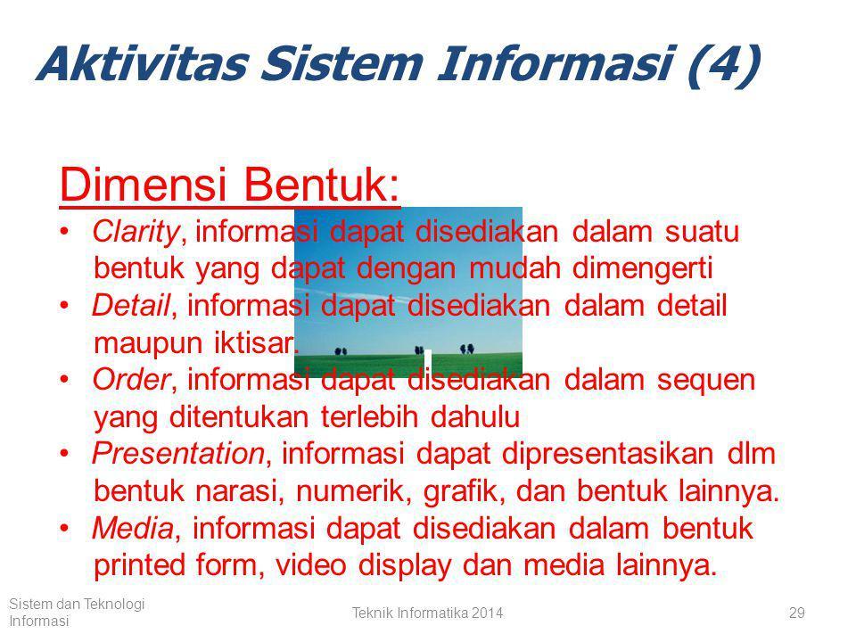 Teknik Informatika 201428 Sistem dan Teknologi Informasi Aktivitas Sistem Informasi (4) Dimensi ISI Accuracy, informasi harus bebas dari kesalahan.