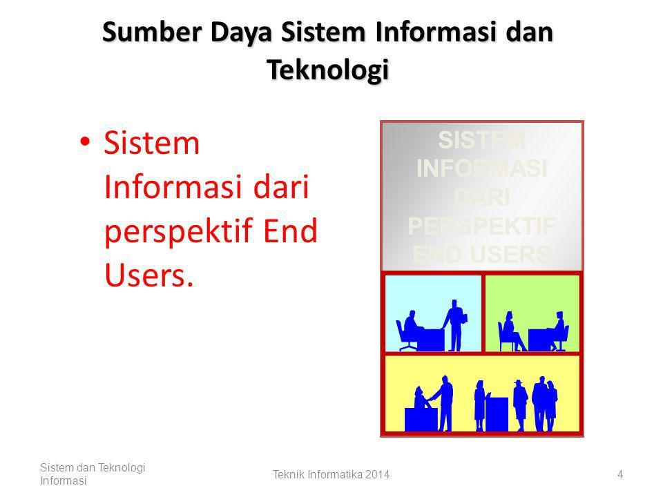 Sumber Daya Sistem Informasi dan Teknologi Sistem informasi diorganisasi dengan cara menggabungkan manusia, hardware, software, jaringan komunikasi, dan sumber-sumber data yang berfungsi untuk mengumpulkan, mengolah, dan menyebarkan informasi ke semua bagian organisasi.