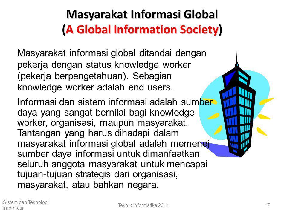 Pengertian Sistem Informasi (1) Sistem informasi adalah suatu sistem yang menerima sumber data sebagai input dan memprosesnya menjadi produk informasi sebagai outputnya.