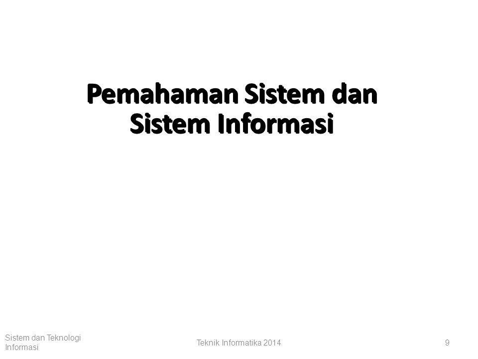 Teknik Informatika 20148 Sistem dan Teknologi Informasi Kerangka Kerja untuk Managerial end users Pengembangan Sistem Informasi Solusi untuk Masalah2 Bisnis Apikiasi Sistem Informasi Untuk Operasi, Manajemen dan Keunggulan Strategik Teknologi Sistem Informasi Perangkat Keras, Perangkat Lunak, Telekomunikasi, an Manajemen Data Konsep-Konsep Dasar Sistem Informasi Perilaku Dasar dan Konsep-Konsep teknik Manajemen dari SI: Sumber-2 dan Aktivitas