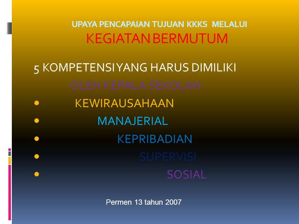UPAYA PENCAPAIAN TUJUAN KKKS MELALUI KEGIATAN BERMUTUM 5 KOMPETENSI YANG HARUS DIMILIKI OLEH KEPALA SEKOLAH KEWIRAUSAHAAN MANAJERIAL KEPRIBADIAN SUPERVISI SOSIAL Permen 13 tahun 2007