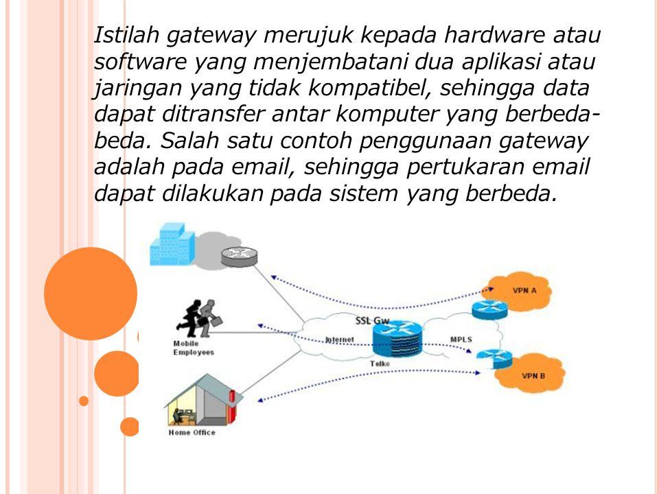 Istilah gateway merujuk kepada hardware atau software yang menjembatani dua aplikasi atau jaringan yang tidak kompatibel, sehingga data dapat ditransfer antar komputer yang berbeda- beda.