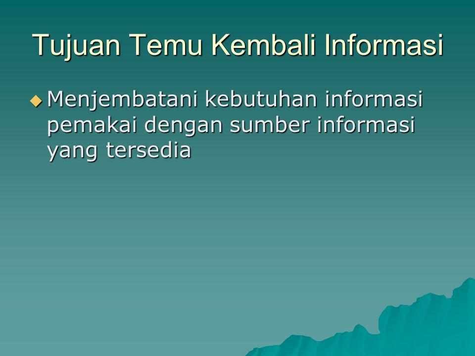 Kesimpulan Sistem temu kembali informasi merupakan proses penyimpanan, penyediaan, representasi, organisasi dan pencarian kembali dokumen yang relevan