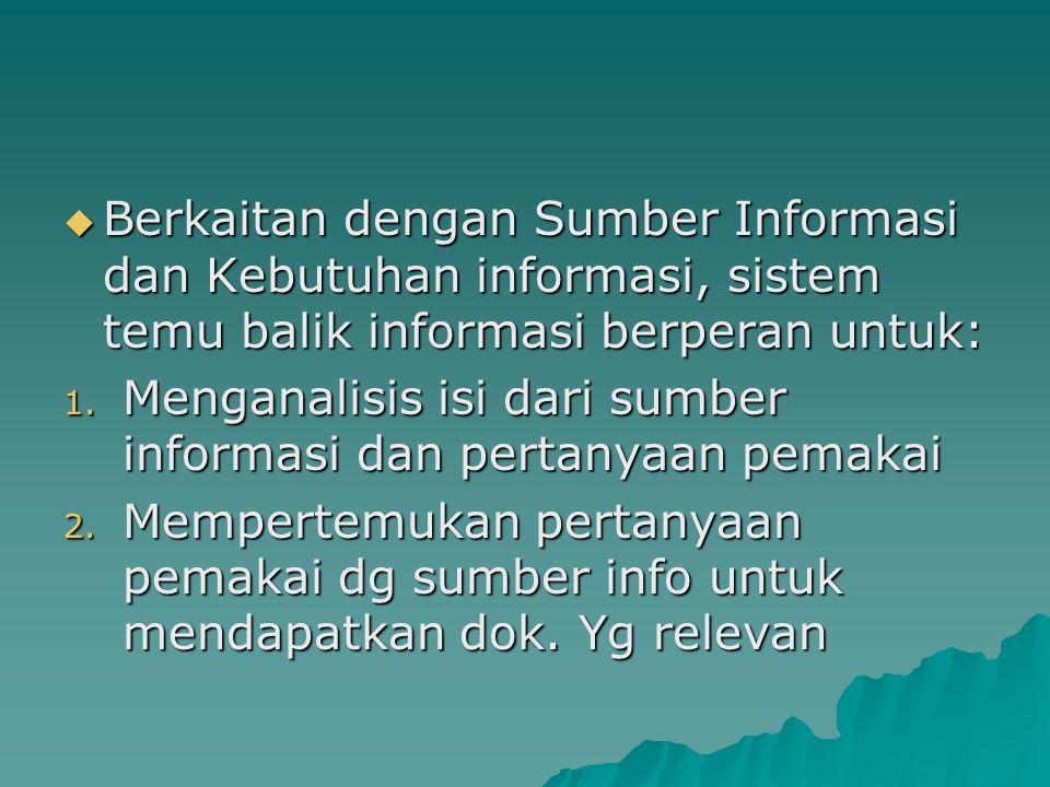 Tujuan Temu Kembali Informasi  Menjembatani kebutuhan informasi pemakai dengan sumber informasi yang tersedia