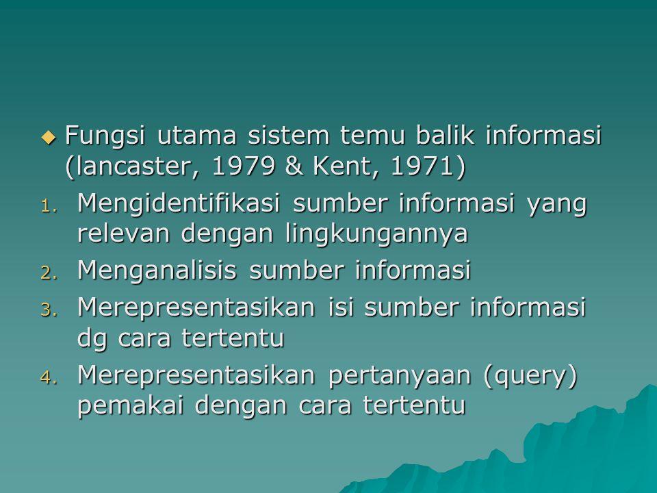 Berkaitan dengan Sumber Informasi dan Kebutuhan informasi, sistem temu balik informasi berperan untuk: 1. Menganalisis isi dari sumber informasi dan