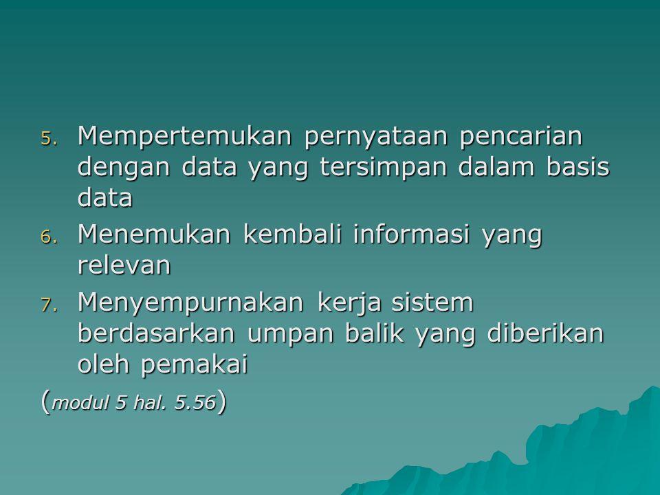 5.Mempertemukan pernyataan pencarian dengan data yang tersimpan dalam basis data 6.