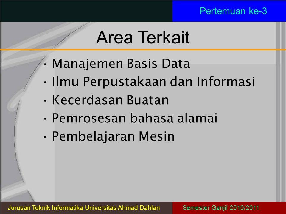 Area Terkait Pertemuan ke-3 Manajemen Basis Data Ilmu Perpustakaan dan Informasi Kecerdasan Buatan Pemrosesan bahasa alamai Pembelajaran Mesin Jurusan