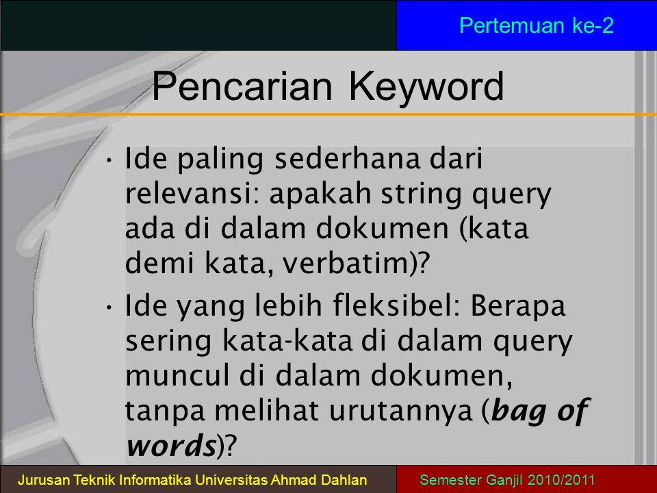 PencarianKeyword Ide paling sederhana dari relevansi: apakah string query ada di dalam dokumen (kata demi kata, verbatim)? Ide yang lebih fleksibel: B