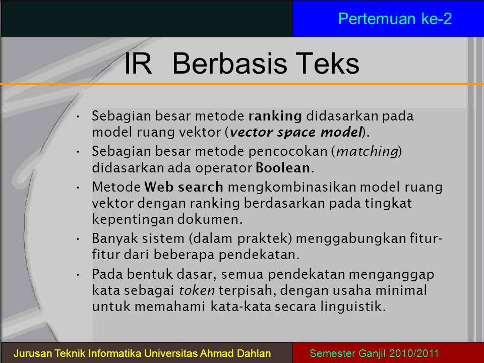 IRBerbasis Teks Sebagian besar metode ranking didasarkan pada model ruang vektor (vector space model). Sebagian besar metode pencocokan (matching) did