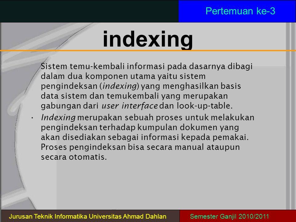 indexing Sistem temu-kembali informasi pada dasarnya dibagi dalam dua komponen utama yaitu sistem pengindeksan (indexing) yang menghasilkan basis data