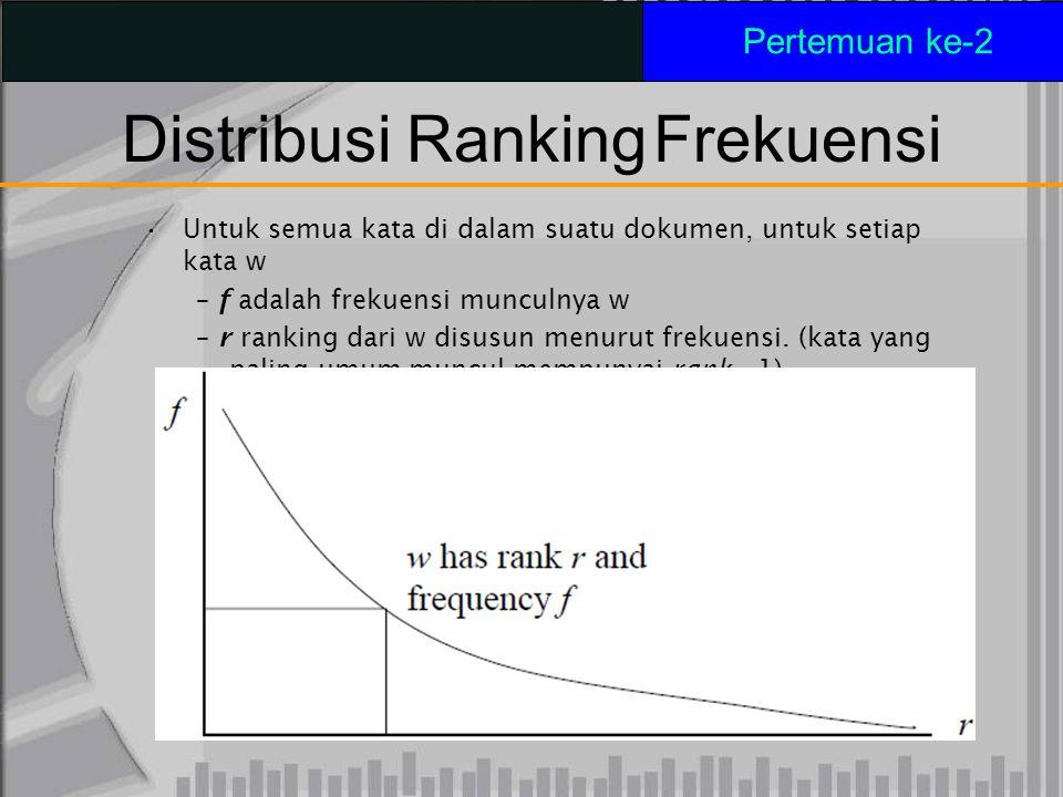 Distribusi RankingFrekuensi Untuk semua kata di dalam suatu dokumen, untuk setiap kata w – f adalah frekuensi munculnya w – r ranking dari w disusun m