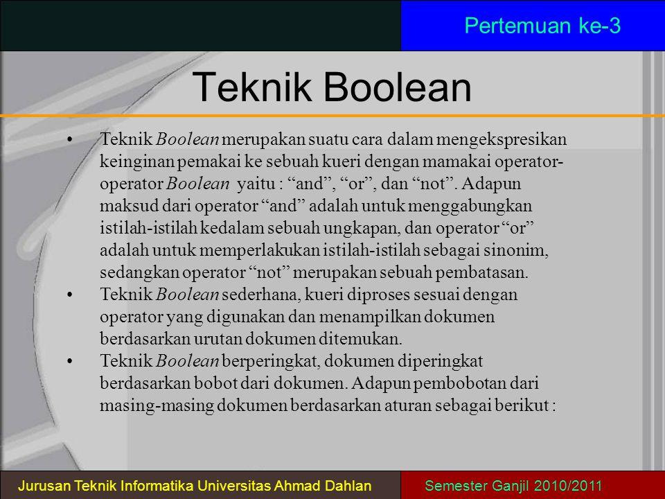 Teknik Boolean Pertemuan ke-3 Jurusan Teknik Informatika Universitas Ahmad DahlanSemester Ganjil 2010/2011 Teknik Boolean merupakan suatu cara dalam m