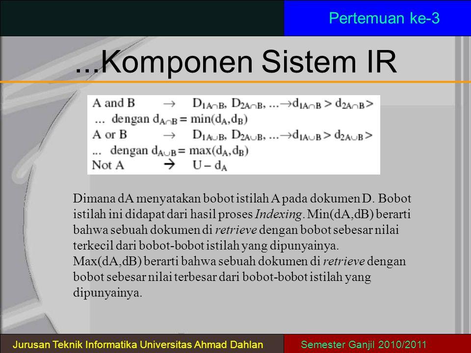 ...Komponen Sistem IR Pertemuan ke-3 Jurusan Teknik Informatika Universitas Ahmad DahlanSemester Ganjil 2010/2011 Dimana dA menyatakan bobot istilah A