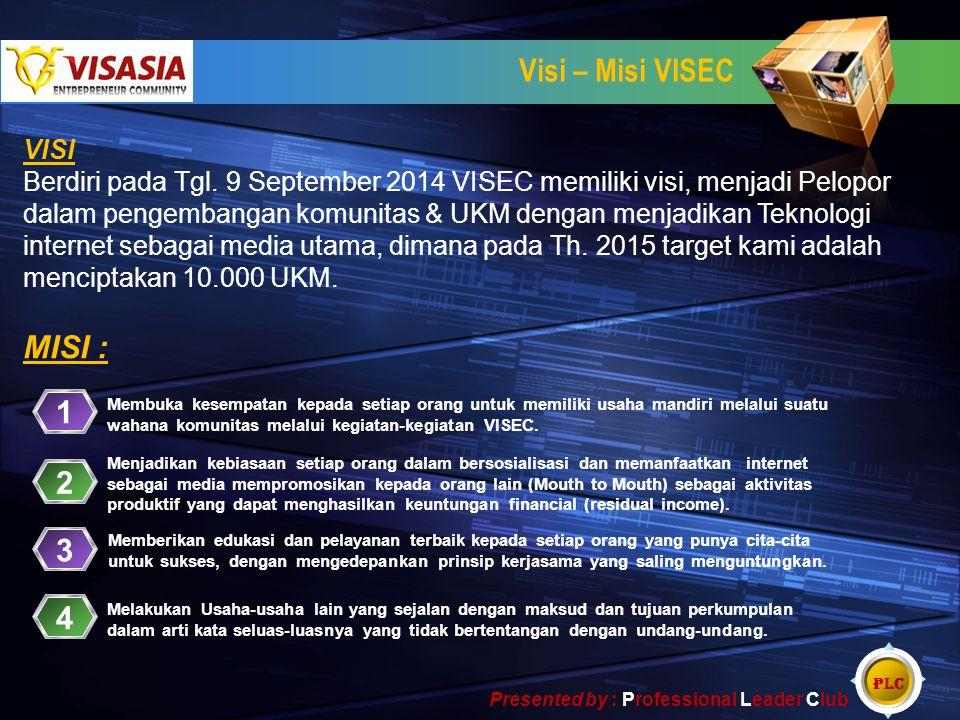 Visi – Misi VISEC VISI Berdiri pada Tgl. 9 September 2014 VISEC memiliki visi, menjadi Pelopor dalam pengembangan komunitas & UKM dengan menjadikan Te