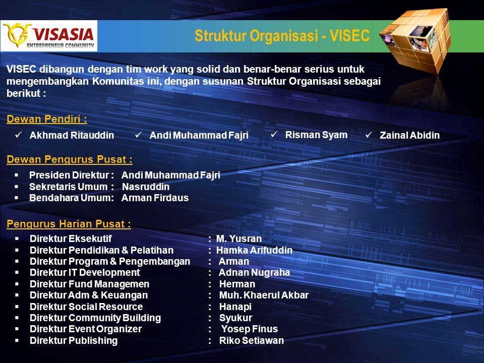 Struktur Organisasi - VISEC Dewan Pendiri : Akhmad Ritauddin Andi Muhammad Fajri Risman Syam Zainal Abidin Dewan Pengurus Pusat :  Presiden Direktur: