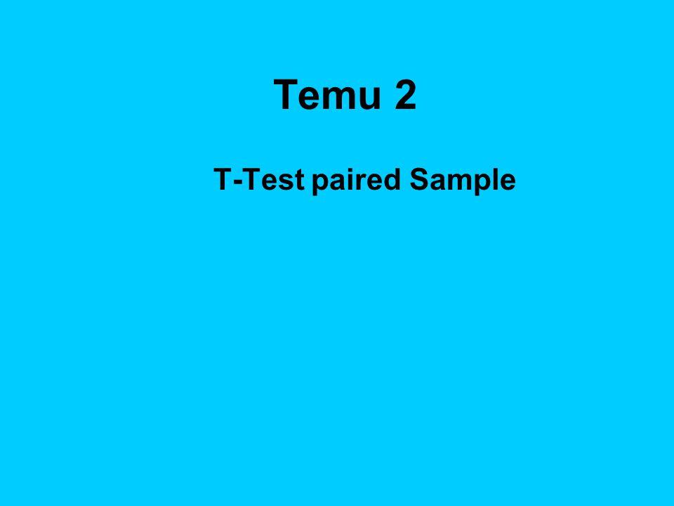 Tujuan Instruksional Umum Mahasiswa mampu melakukan analisis komparatif dua sampel yang berhubungan dengan penggunaan perangkat lunak Excel