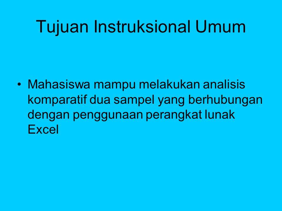 Tujuan Instruksional Khusus Mahasiswa mampu mengetahui pemanfaatan uji komparatif dua sampel yang dependent.