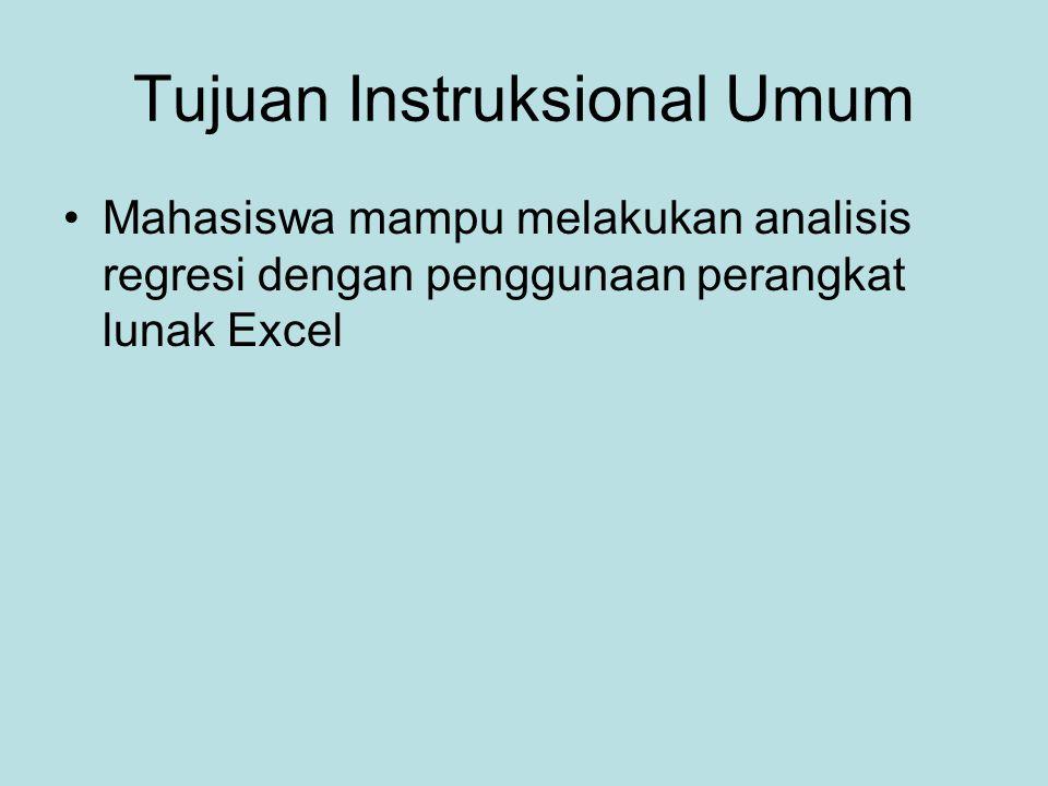 Tujuan Instruksional Umum Mahasiswa mampu melakukan analisis regresi dengan penggunaan perangkat lunak Excel